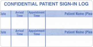 <b><u>Confidential Patient Sign-In Log